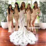 Spaghetti Strap Mermaid Side Slit Long Bridesmaid Dresses DGW28