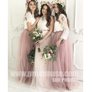 Mismatched Two Pieces Lace Tulle Wedding Long Cheap Bridesmaid Dresses, PM0832 - Prom Muse
