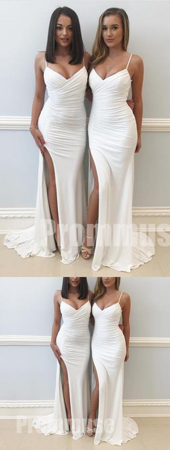 Elegant Sexy Mermaid Side Split Spaghetti Strap Long Bridesmaid Dresses, PM0824 - Prom Muse