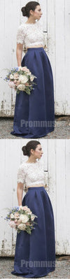 2 Pieces Short Sleeves Lace Satin Elegant Long Bridesmaid Dresses, PM0818 - Prom Muse