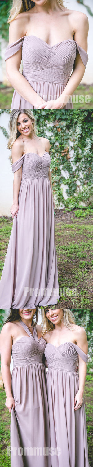 Cheap Off the Shoulder Sweetheart Halter Chiffon Formal Long Bridesmaid Dresses, PM0823 - Prom Muse