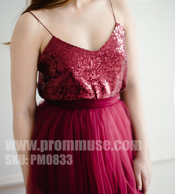 66cd8057ae Burgundy Mismatched Two Pieces Sequin Tulle Wedding Long Bridesmaid Dresses