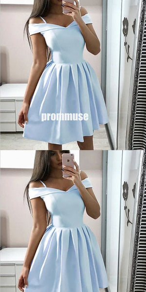 Cute Off-shoulder Spaghetti Strap Cheap Short Homecoming Dresses, HCD003
