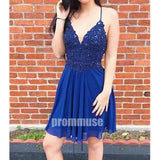 Elegant Navy Blue Chiffon Spaghetti Strap Short Homecoming Dresses, HCD006