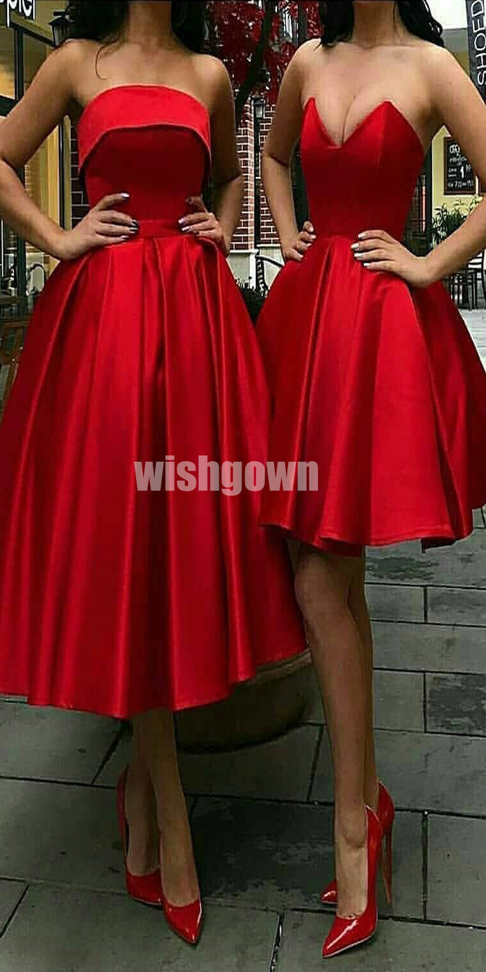 Simple Satin Red Cheap Short Homecoming Dresses YWP111