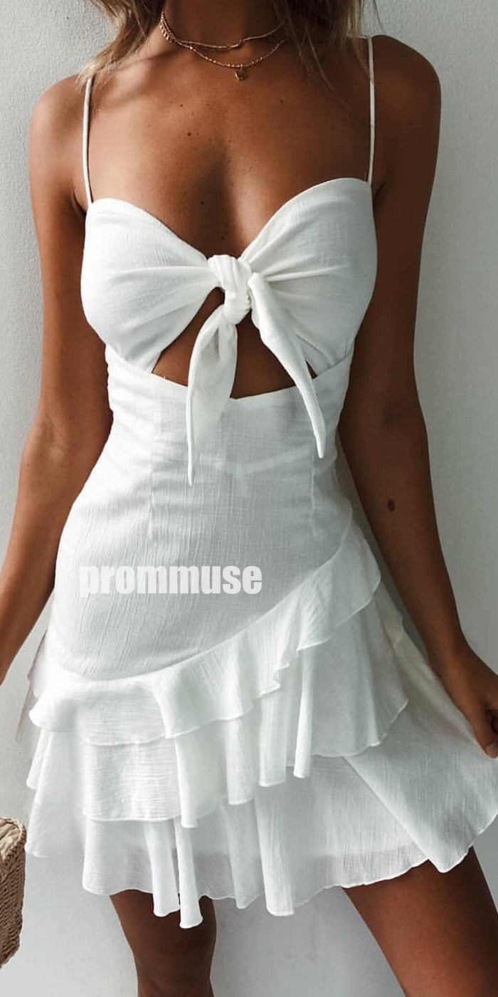Spaghetti Strap Cute Cheap Short Homecoming Dresses ADW1101