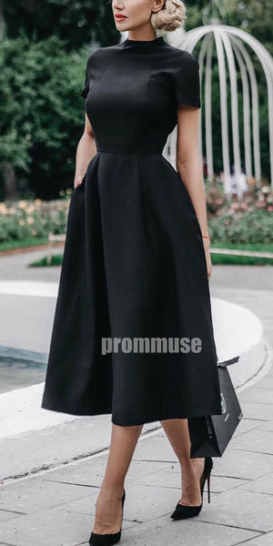 Black Short Sleeves Simple Short Homecoming Dresses ADW1103