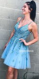 Blue Lace Up Back Short Homecoming Dresses ADW1106