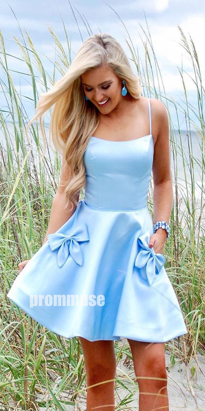 Spaghetti Strap Blue Short Homecoming Dresses ADW1107