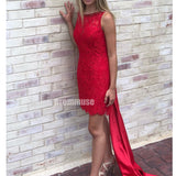 Red Short Open Back Lace Homecoming Dresses ADW1109