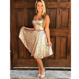 Two Pieces Sequin Sparkle Cheap Short Homecoming Dresses, LD129
