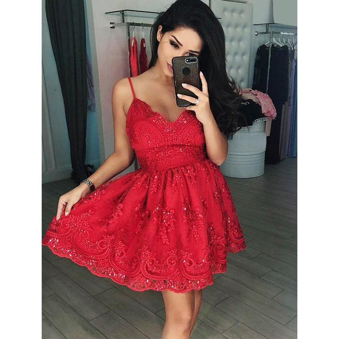 Red Spaghetti Strap Lace Sweetheart Cheap Short Homecoming Dresses, LD106