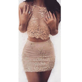 Popular Two Pieces Charming Halter Short Homecoming Dresses, LD103 - Prom Muse