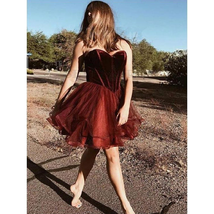 Burgundy Sweetheart Popular Cheap Short Homecoming Dresses, LD104 - Prom Muse
