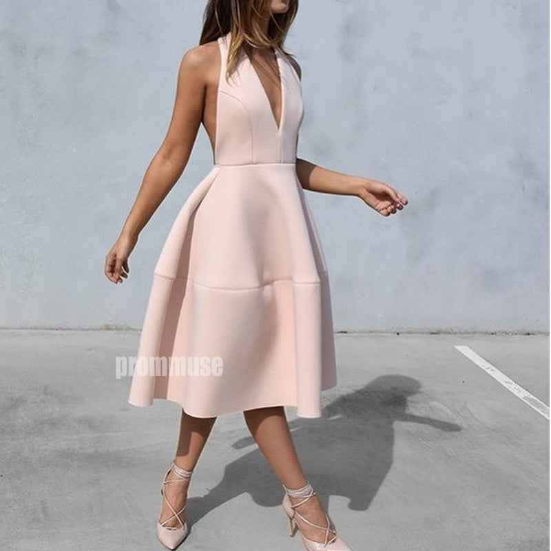 Simple Cheap V Neck Short Homecoming Dresses ADW1102