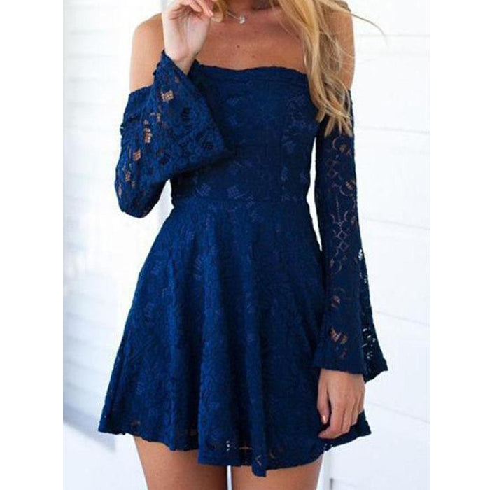 Off the Shoulder Long Sleeves Lace Royal Blue Short Homecoming Dresses, LD138 - Prom Muse