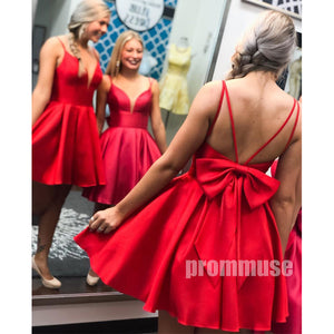 Spaghetti Strap Red Short Homecoming Dresses with Bow ADW1108