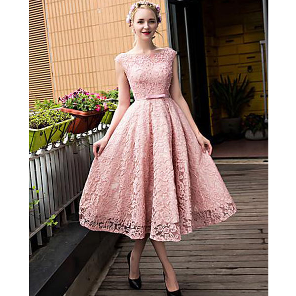 Pink Lace Up Teenage Lace Up Back Cheap Homecoming Dresses, PM0406 - Prom Muse