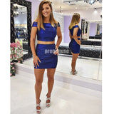 Two Pieces Off the Shoulder Royal Blue Short Homecoming Dresses ADW1110