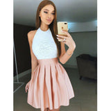 Halter Open Back Lace Satin Cheap Short Homecoming Dresses, LD135 - Prom Muse