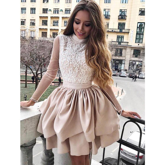 Charming Long Sleeves Unique Lace Cheap Short Homecoming Dresses, LD108 - Prom Muse