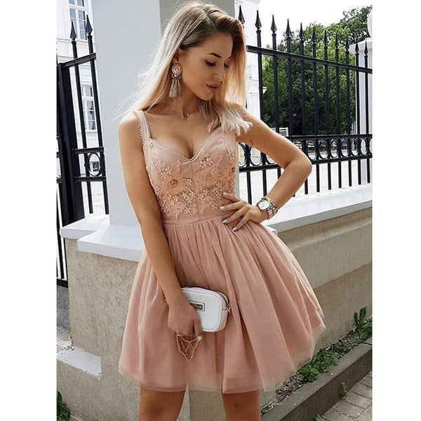 Unique Applique Lovely Teenagers Graduation Short Homecoming Dresses, LD134