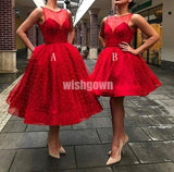 Red Tulle Beaded Short Homecoming Dresses YWP112