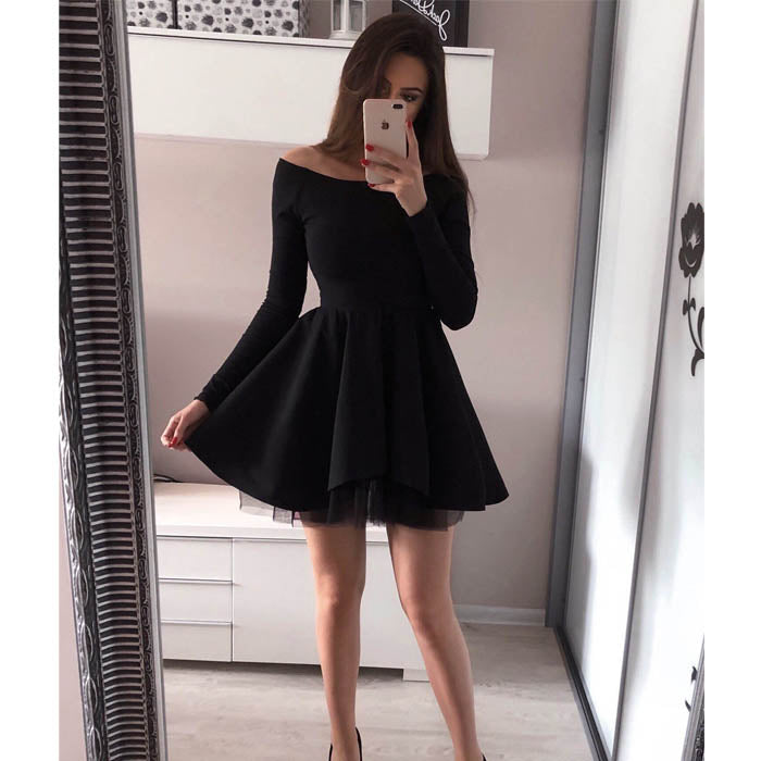 a5151818a44 Black Long Sleeves Cheap Simple Short Homecoming Dresses