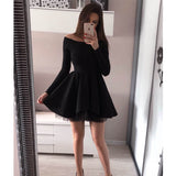 Black Long Sleeves Cheap Simple Short Homecoming Dresses, LD110 - Prom Muse