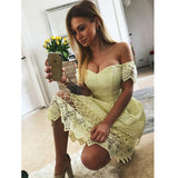 Lovely Off the Shoulder Lace Yellow Cheap Short Homecoming Dresses, LD131 - Prom Muse
