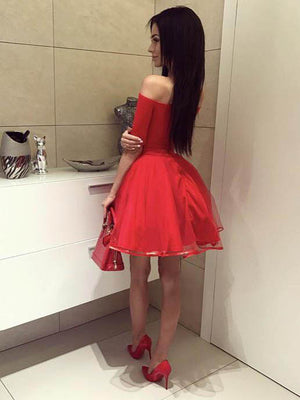 Red Off the Shoulder Short Sleeves Cheap Short Homecoming Dresses, LD109 - Prom Muse