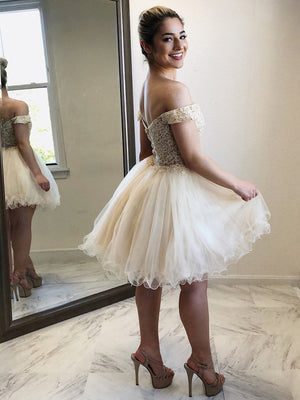 Popular Teenager Off the Shoulder Lovely Cheap Short Homecoming Dresses, LD118 - Prom Muse