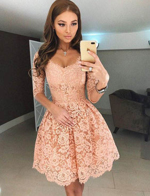 Half Sleeves Lace Junier Cheap Short Homecoming Dresses, LD102 - Prom Muse