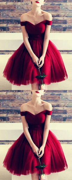 Most Popular Off the Shoulder Burgundy Cheap Simple Short Homecoming Dresses, LD115 - Prom Muse