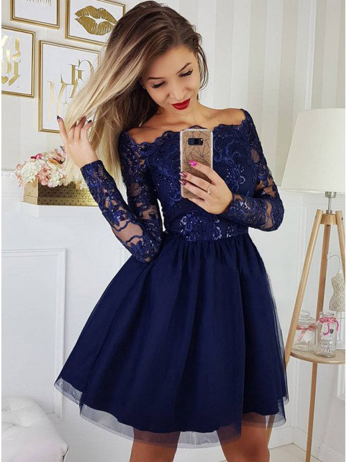 Long Sleeves Roayl Blue Unique Cheap Short Homecoming Dresses, LD107 - Prom Muse