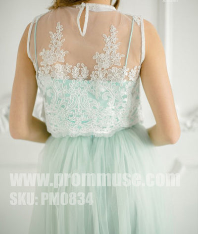 Popular Mismatched Charming lace Tulle Wedding Cheap Long Bridesmaid Dresses, PM0834