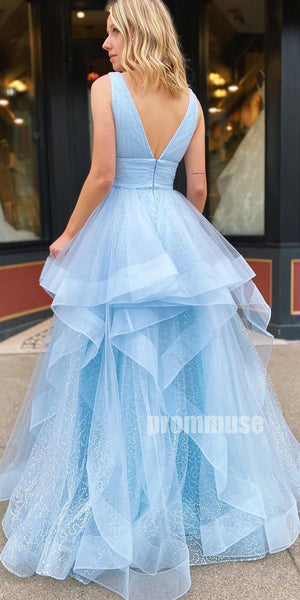 Charming Light Blue V Neck Tulle A-line Long Prom Dresses LPD002