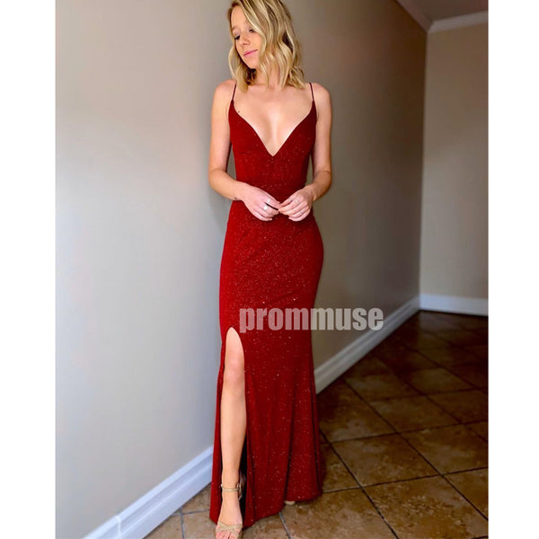 Sexy Red V Neck Spaghetti Strap Mermaid Long Prom Dresses LPD003