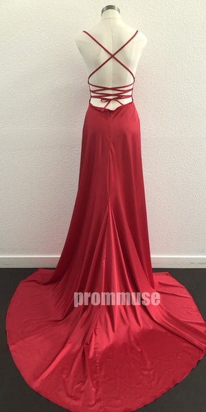Sexy Red V Neck Spaghetti Strap Long Prom Dresses LPD004