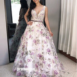 Elegant V-neck Purple Flower Long Prom Dresses LPD005