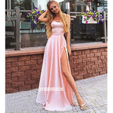 Elegant A-line Pink Split Side Long Prom Dresses LPD007