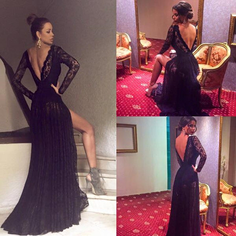Black Long Sleeves Lace Side Split Sexy V Back Long Prom Dress, PM0003 - Prom Muse