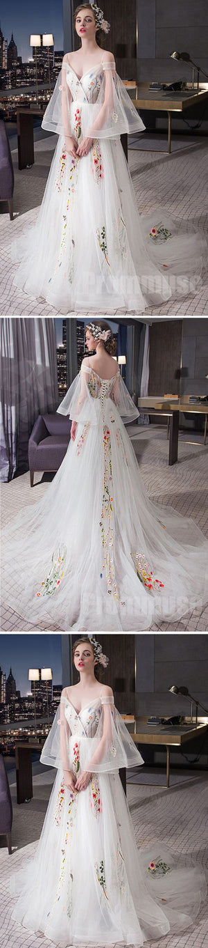 Charming Unique Off the Shoulder Long Sleeves Lace Up Long Prom Dresses, PM0793 - Prom Muse