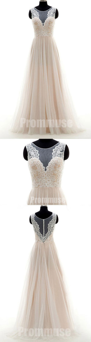 Elegant Tulle Lace Formal Online Cheap Wedding Long Prom Dresses, PM0792 - Prom Muse