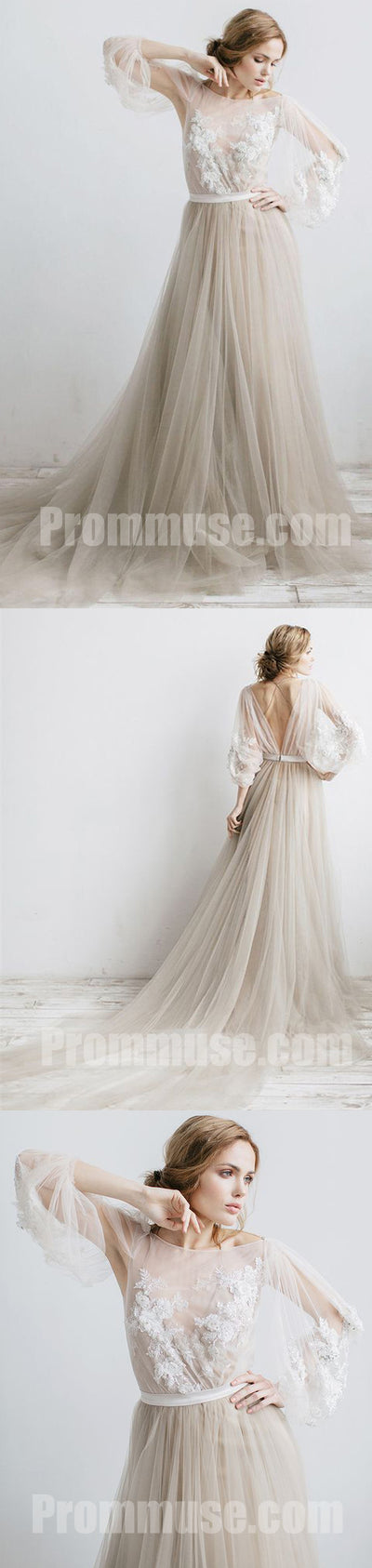 Charming Long Sleeves V Back Tulle Applique Long Prom Dresses, PM1020