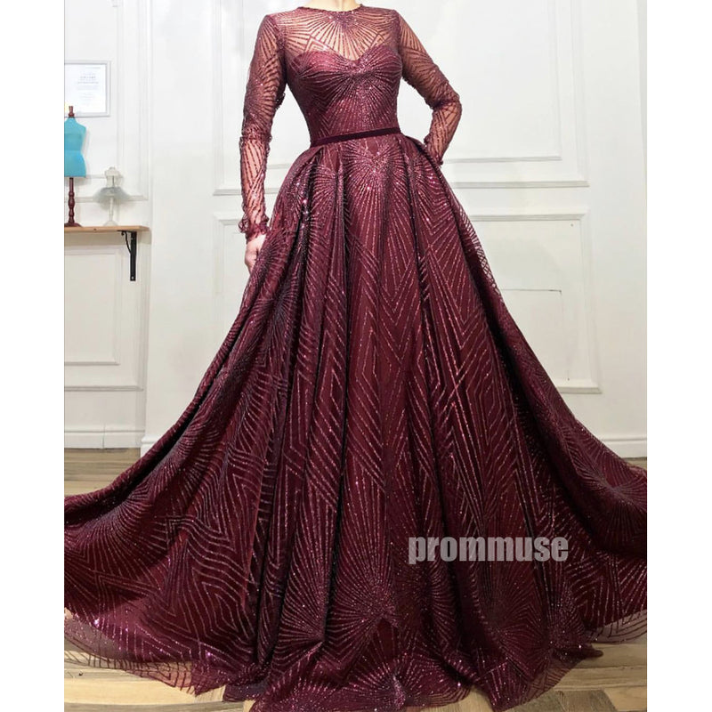 Long Sleeves Modest A-line Long Prom Dresses SPE176