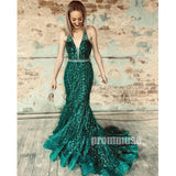 Mermaid Unique Applique Green Long Prom Dresses SPE185