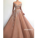 Off the Shoulder Applique Lace Long Prom Dresses SPE178