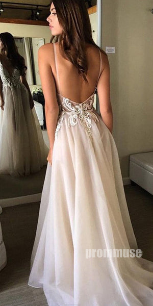 Sexy Open Back Spaghetti Strap Popular Inexpensive Long Prom Dresses, PM0795