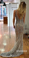 Popular Sexy Beaded Seen Through Side Split Long Prom Dresses, PM1019